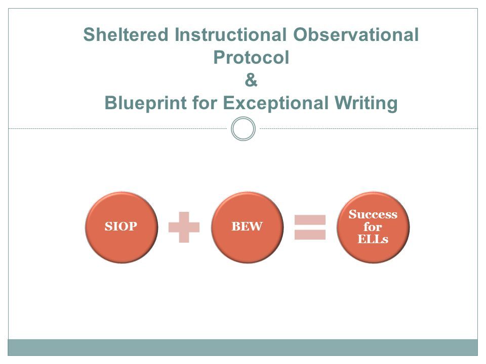 SIOPBEW Success for ELLs Sheltered Instructional Observational Protocol & Blueprint for Exceptional Writing