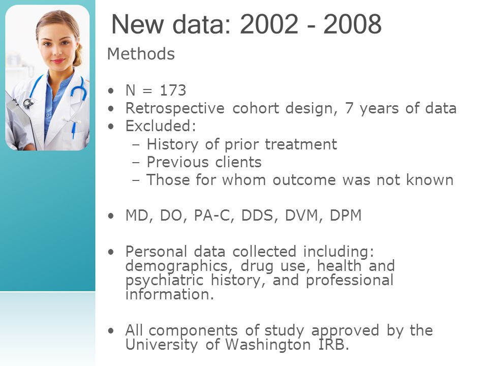 New data: 2002 - 2008 Methods N = 173 Retrospective cohort design, 7 years of data Excluded: –History of prior treatment –Previous clients –Those for whom outcome was not known MD, DO, PA-C, DDS, DVM, DPM Personal data collected including: demographics, drug use, health and psychiatric history, and professional information.