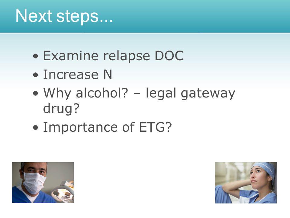 Next steps... Examine relapse DOC Increase N Why alcohol – legal gateway drug Importance of ETG