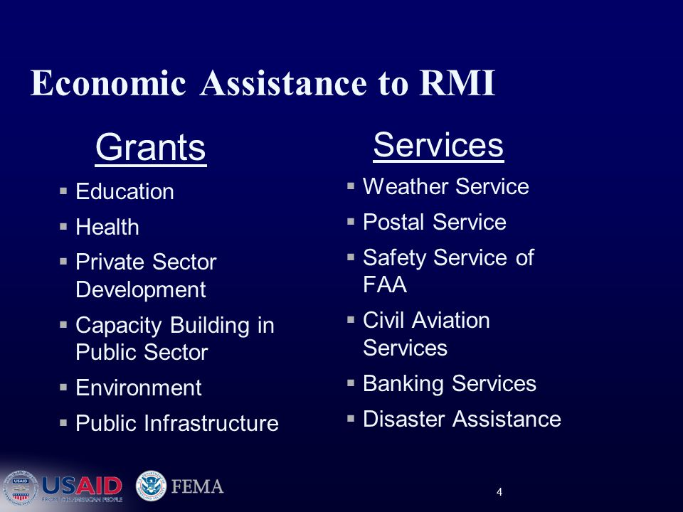 4 Economic Assistance to RMI Grants  Education  Health  Private Sector Development  Capacity Building in Public Sector  Environment  Public Infrastructure Services  Weather Service  Postal Service  Safety Service of FAA  Civil Aviation Services  Banking Services  Disaster Assistance