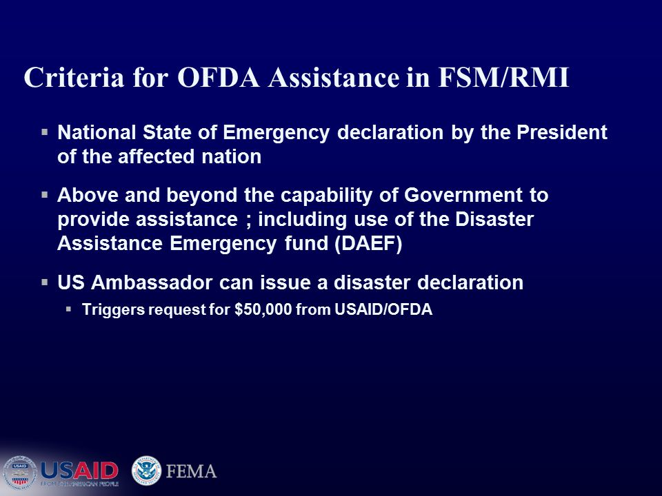 19 Emergency Assistance Primary responsibility for saving lives, preserving public health, and re-establishing communications (including airport, road, and port operations) will remain with the governments of the affected countries.