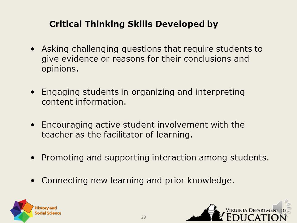 28 Use a variety of instructional strategies, including those that require higher levels of thinking. Compare and contrast through classroom discussio