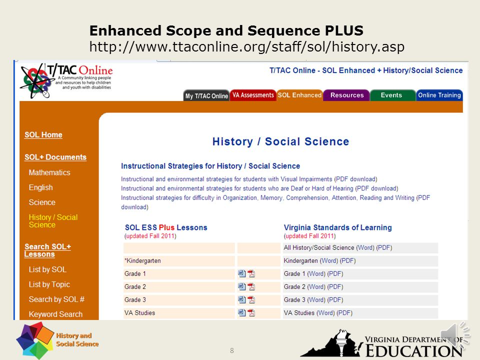 7 The Enhanced Sample Scope and Sequence provides sample instructional activities, sample assessments, follow-up extensions, and related resources.