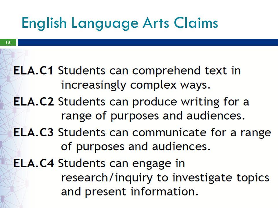 English Language Arts Claims 15
