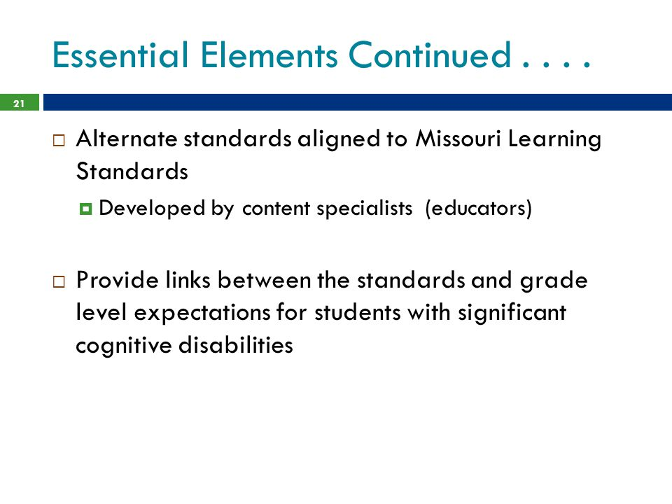 Essential Elements Continued....