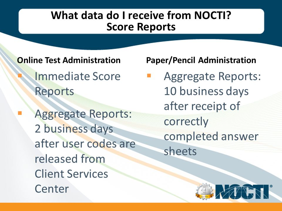 What data do I receive from NOCTI.