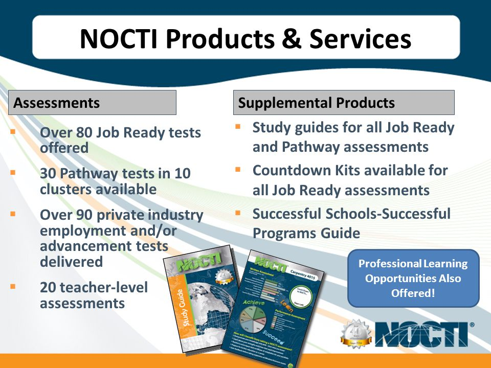  Over 80 Job Ready tests offered  30 Pathway tests in 10 clusters available  Over 90 private industry employment and/or advancement tests delivered  20 teacher-level assessments  Study guides for all Job Ready and Pathway assessments  Countdown Kits available for all Job Ready assessments  Successful Schools-Successful Programs Guide Supplemental ProductsAssessments NOCTI Products & Services Professional Learning Opportunities Also Offered!