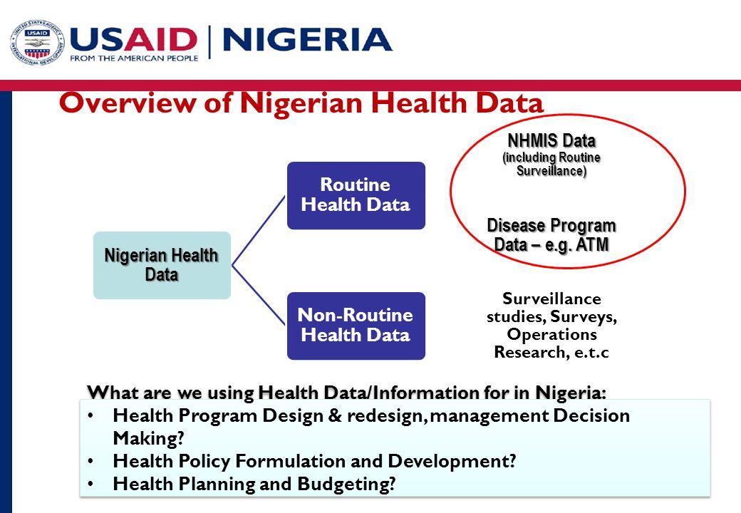 Overview of Nigerian Health Data Nigerian Health Data Routine Health Data NHMIS Data (including Routine Surveillance) Disease Program Data – e.g.