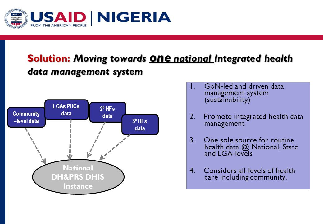 Solution: Moving towards one national Integrated health data management system 1.GoN-led and driven data management system (sustainability) 2.