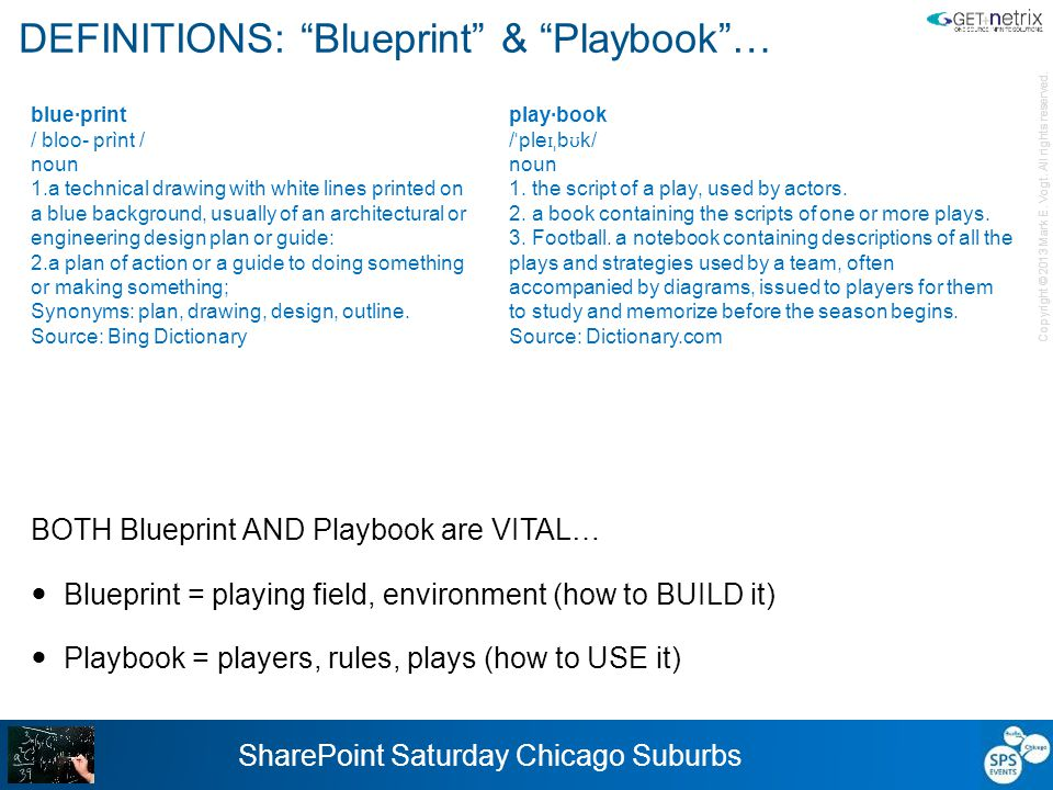 "Copyright © 2013 Mark E. Vogt. All rights reserved. SharePoint Saturday Chicago Suburbs DEFINITIONS: ""Blueprint"" & ""Playbook""… BOTH Blueprint AND Play"