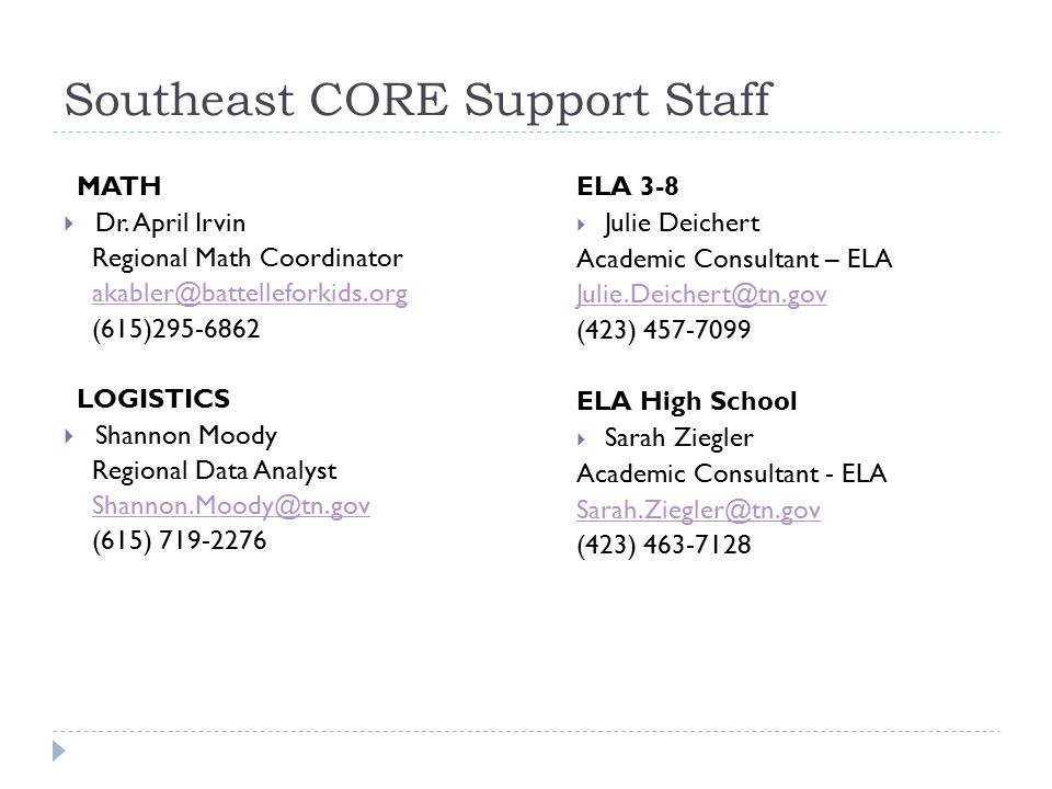 Southeast CORE Support Staff MATH  Dr.