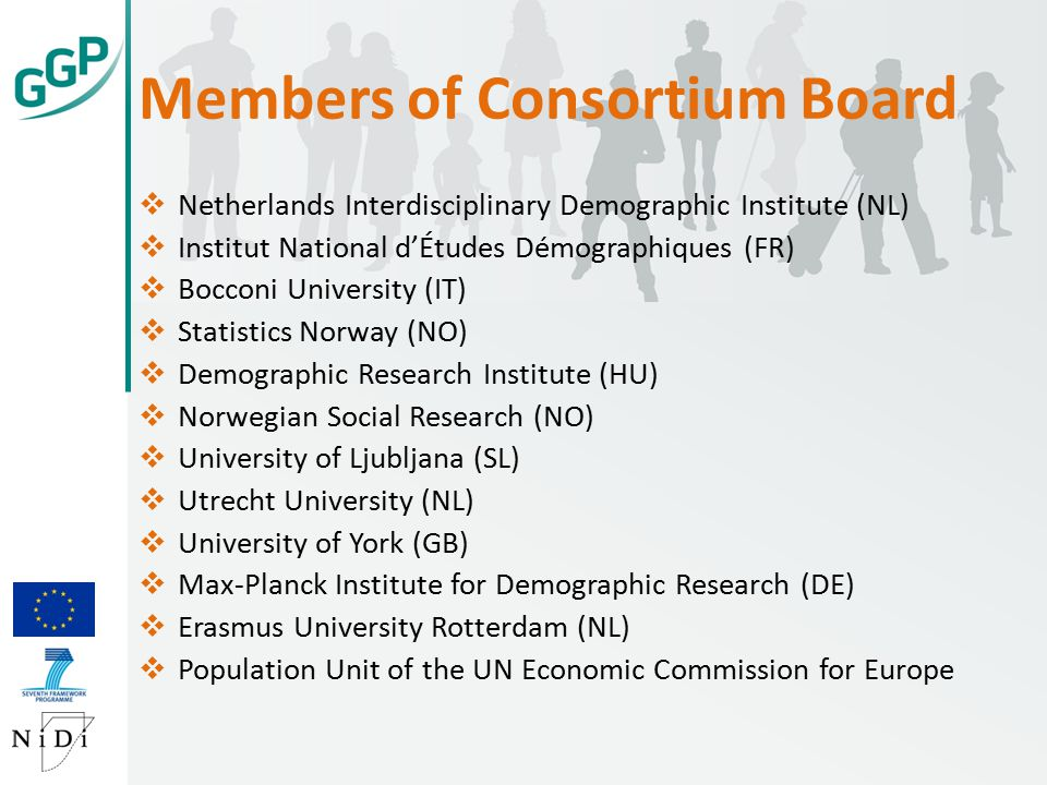 Members of Consortium Board  Netherlands Interdisciplinary Demographic Institute (NL)  Institut National d'Études Démographiques (FR)  Bocconi University (IT)  Statistics Norway (NO)  Demographic Research Institute (HU)  Norwegian Social Research (NO)  University of Ljubljana (SL)  Utrecht University (NL)  University of York (GB)  Max-Planck Institute for Demographic Research (DE)  Erasmus University Rotterdam (NL)  Population Unit of the UN Economic Commission for Europe