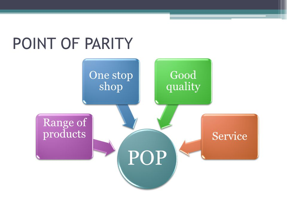 POINT OF PARITY POP Range of products One stop shop Good quality Service