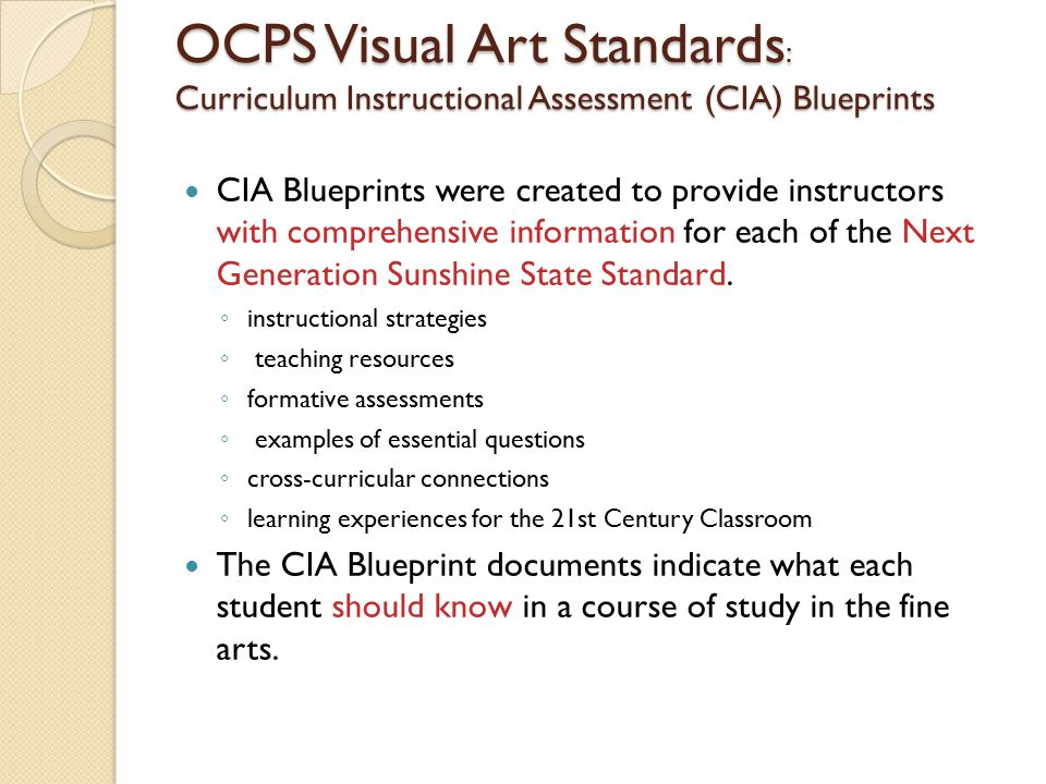 Summary what did i learn a research proposal is simply a written ocps visual art standards curriculum instructional assessment cia blueprints cia blueprints were created malvernweather