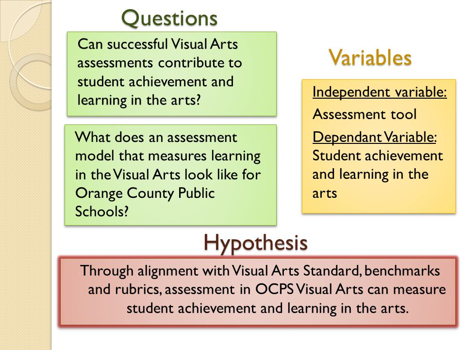 Questions Through alignment with Visual Arts Standard, benchmarks and rubrics, assessment in OCPS Visual Arts can measure student achievement and learning in the arts.