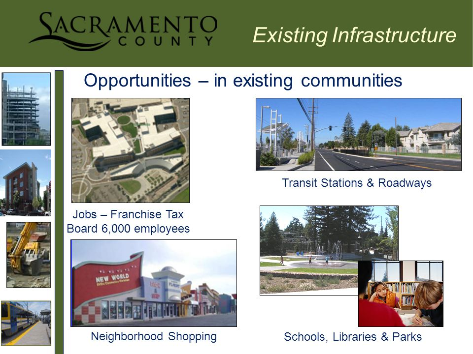 Opportunities – in existing communities Transit Stations & Roadways Jobs – Franchise Tax Board 6,000 employees Schools, Libraries & Parks Neighborhood Shopping Existing Infrastructure
