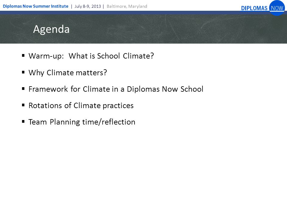 Agenda  Warm-up: What is School Climate.  Why Climate matters.