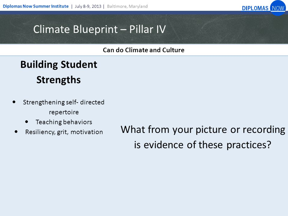 Climate Blueprint – Pillar IV Can do Climate and Culture Building Student Strengths  Strengthening self- directed repertoire  Teaching behaviors  Resiliency, grit, motivation What from your picture or recording is evidence of these practices