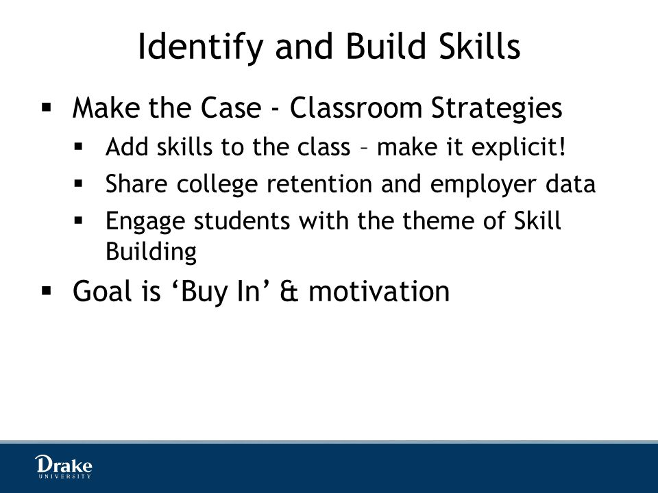 Identify and Build Skills  Make the Case - Classroom Strategies  Add skills to the class – make it explicit.