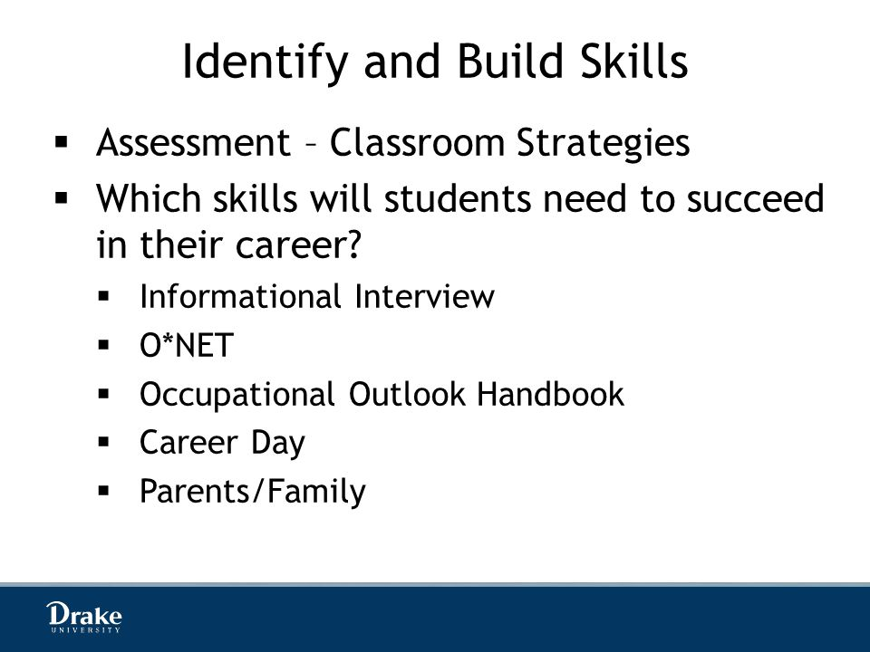 Identify and Build Skills  Assessment – Classroom Strategies  Which skills will students need to succeed in their career.