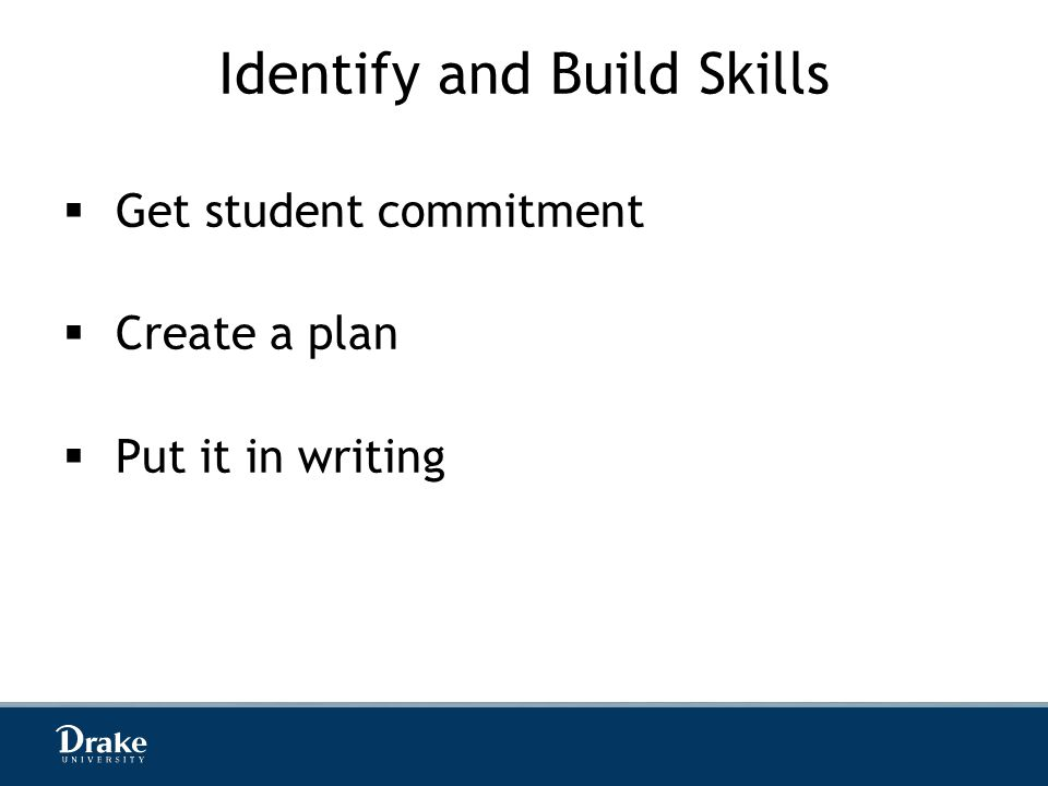 Identify and Build Skills  Get student commitment  Create a plan  Put it in writing