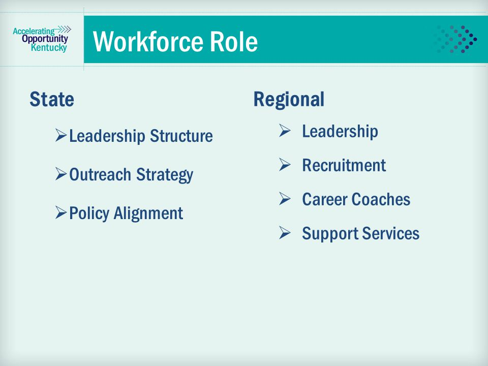 Workforce Role State  Leadership Structure  Outreach Strategy  Policy Alignment Regional  Leadership  Recruitment  Career Coaches  Support Services