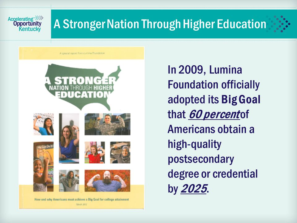In 2009, Lumina Foundation officially adopted its Big Goal that 60 percent of Americans obtain a high-quality postsecondary degree or credential by 2025.
