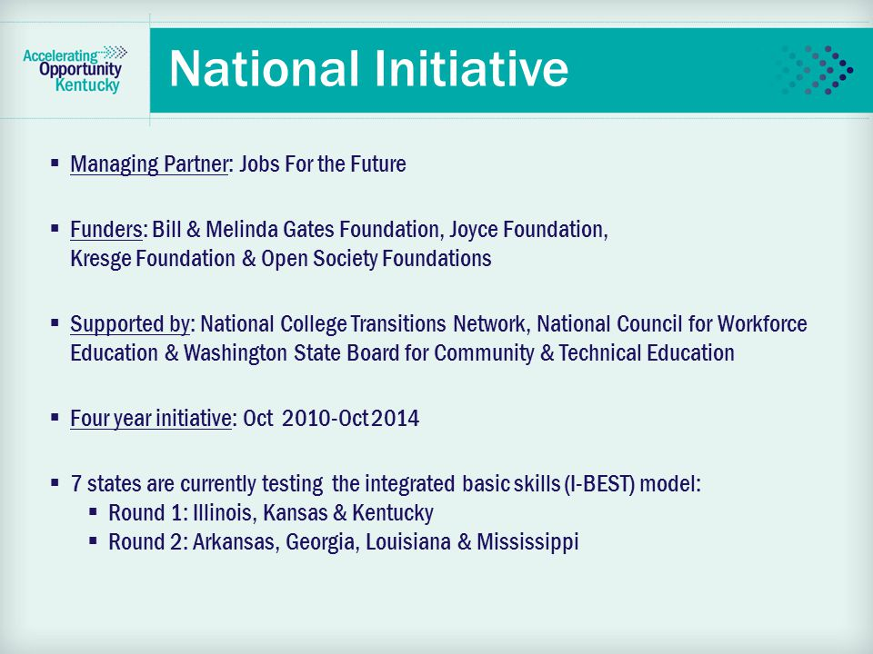 National Vision  The initiative is all about jobs, the economy and improving opportunity for low skilled students  It will help drive economic recovery by helping adults get the credentials and skills they need to get and succeed in family-sustaining jobs  Reform how education is delivered to low skilled adults
