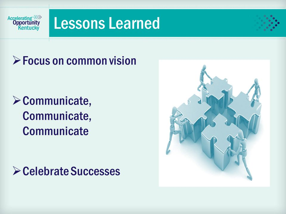 Lessons Learned  Focus on common vision  Communicate, Communicate, Communicate  Celebrate Successes