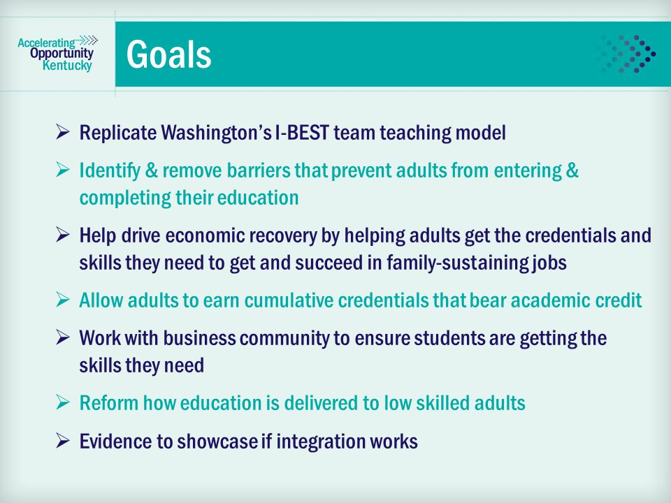Goals  Replicate Washington's I-BEST team teaching model  Identify & remove barriers that prevent adults from entering & completing their education  Help drive economic recovery by helping adults get the credentials and skills they need to get and succeed in family-sustaining jobs  Allow adults to earn cumulative credentials that bear academic credit  Work with business community to ensure students are getting the skills they need  Reform how education is delivered to low skilled adults  Evidence to showcase if integration works
