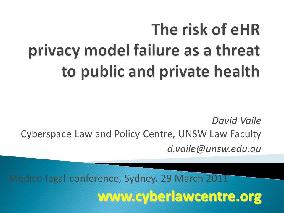 David Vaile Cyberspace Law and Policy Centre, UNSW Law Faculty d.vaile@unsw.edu.au Medico-legal conference, Sydney, 29 March 2011www.cyberlawcentre.org