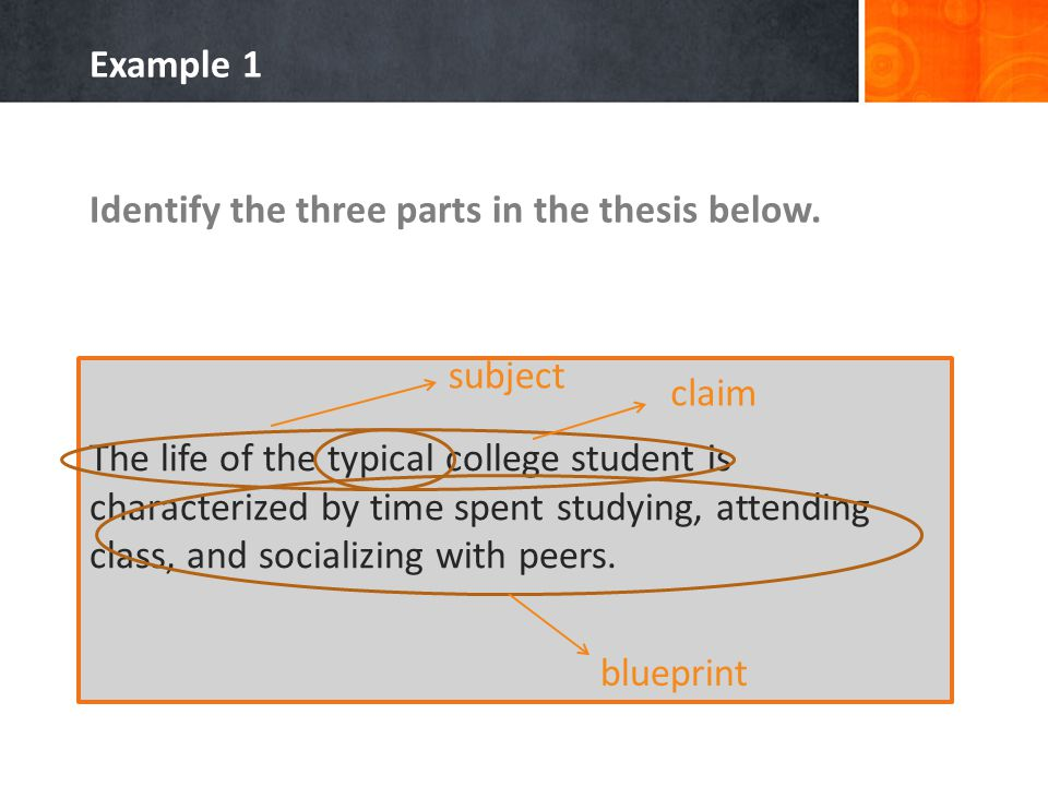 Identify the three parts in the thesis below.
