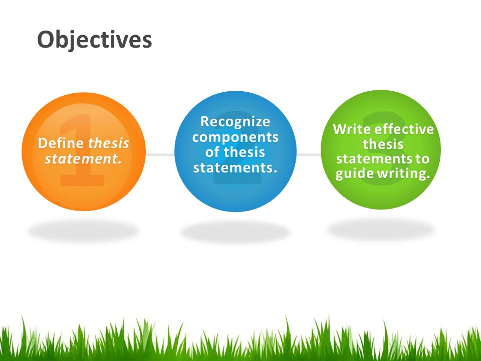 Objectives 1 Define thesis statement. 2 Recognize components of thesis statements.