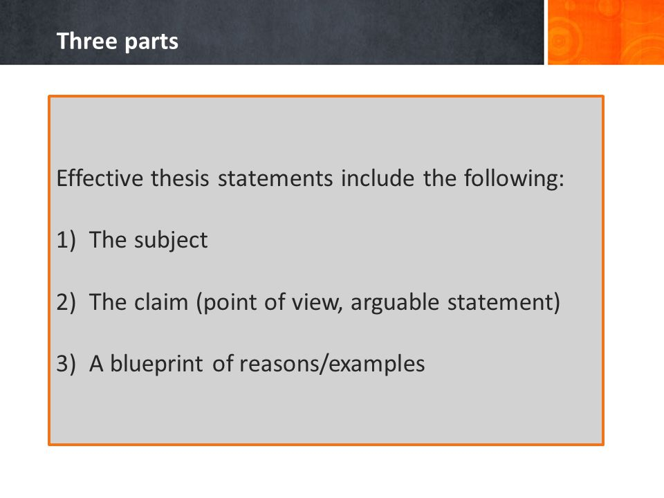 Three parts Effective thesis statements include the following: 1)The subject 2)The claim (point of view, arguable statement) 3)A blueprint of reasons/examples
