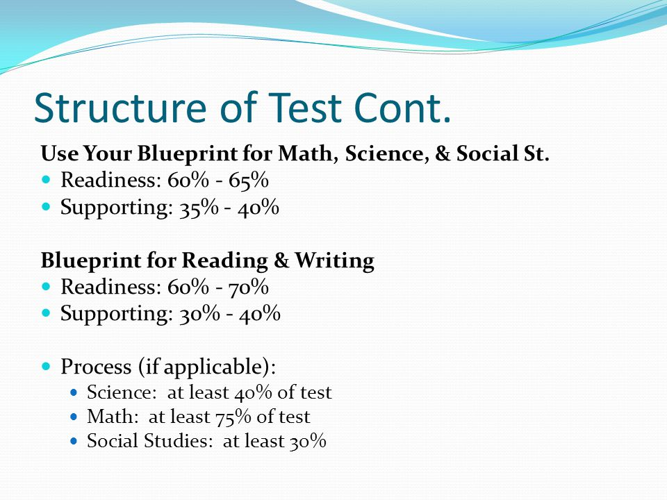 Structure of Test Cont. Use Your Blueprint for Math, Science, & Social St. Readiness: 60% - 65% Supporting: 35% - 40% Blueprint for Reading & Writing