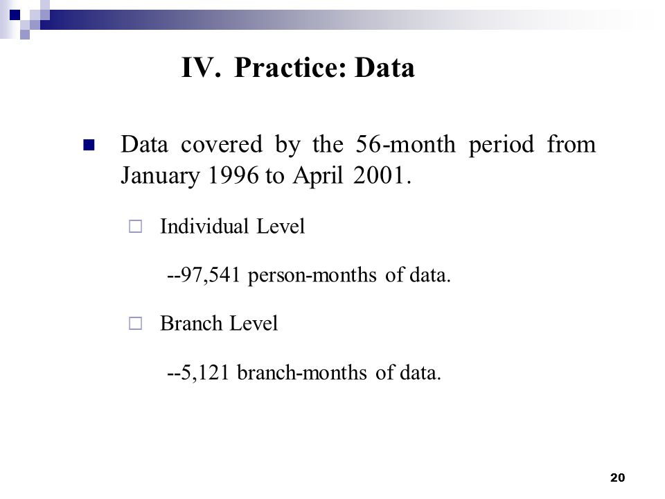 20 Data covered by the 56-month period from January 1996 to April 2001.