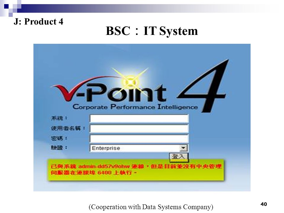 40 BSC : IT System J: Product 4 (Cooperation with Data Systems Company)