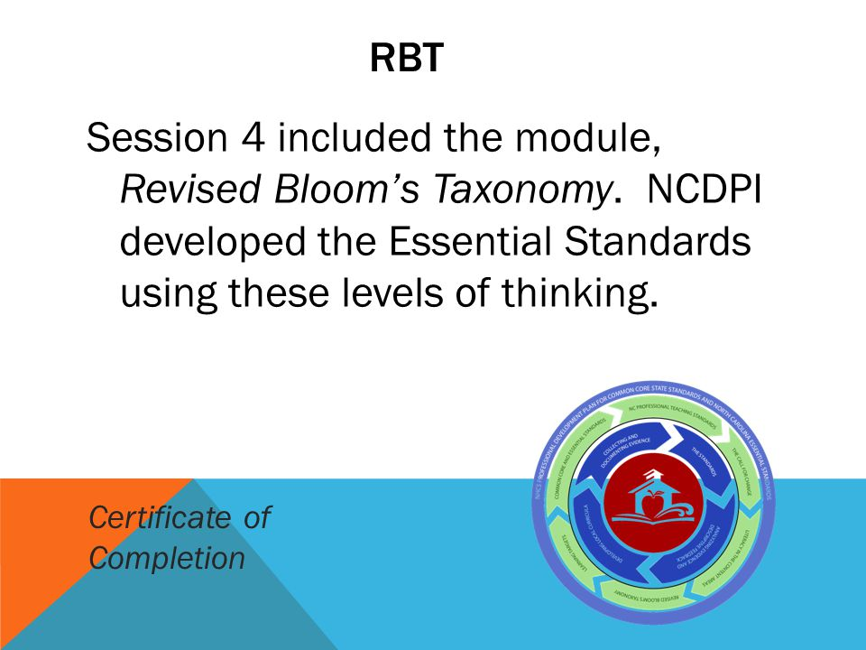 RBT Session 4 included the module, Revised Bloom's Taxonomy. NCDPI developed the Essential Standards using these levels of thinking. Certificate of Co