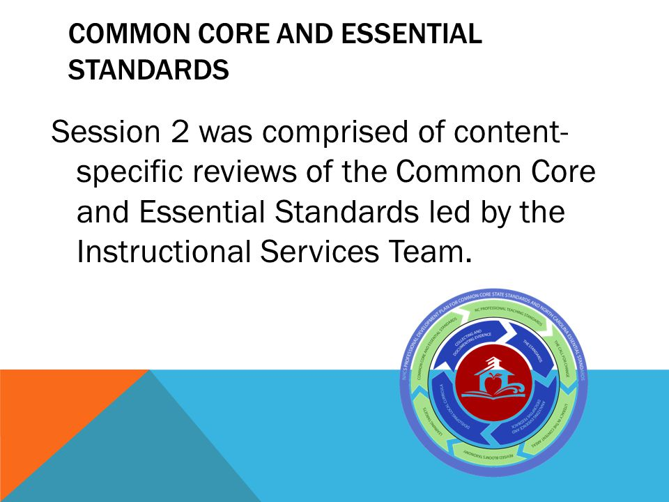 COMMON CORE AND ESSENTIAL STANDARDS Session 2 was comprised of content- specific reviews of the Common Core and Essential Standards led by the Instruc