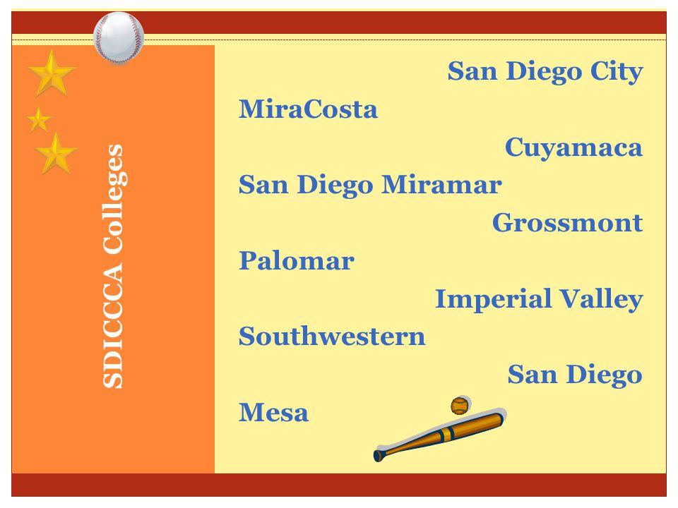 SDICCCA Colleges San Diego City MiraCosta Cuyamaca San Diego Miramar Grossmont Palomar Imperial Valley Southwestern San Diego Mesa