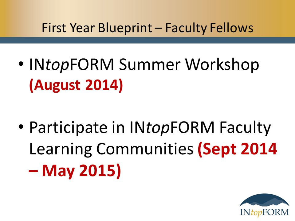 First Year Blueprint – Faculty Fellows INtopFORM Summer Workshop (August 2014) Participate in INtopFORM Faculty Learning Communities (Sept 2014 – May