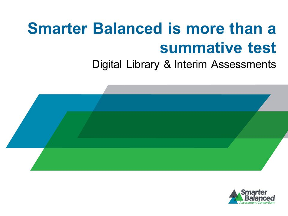 Smarter Balanced is more than a summative test Digital Library & Interim Assessments