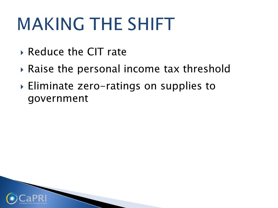  Reduce the CIT rate  Raise the personal income tax threshold  Eliminate zero-ratings on supplies to government