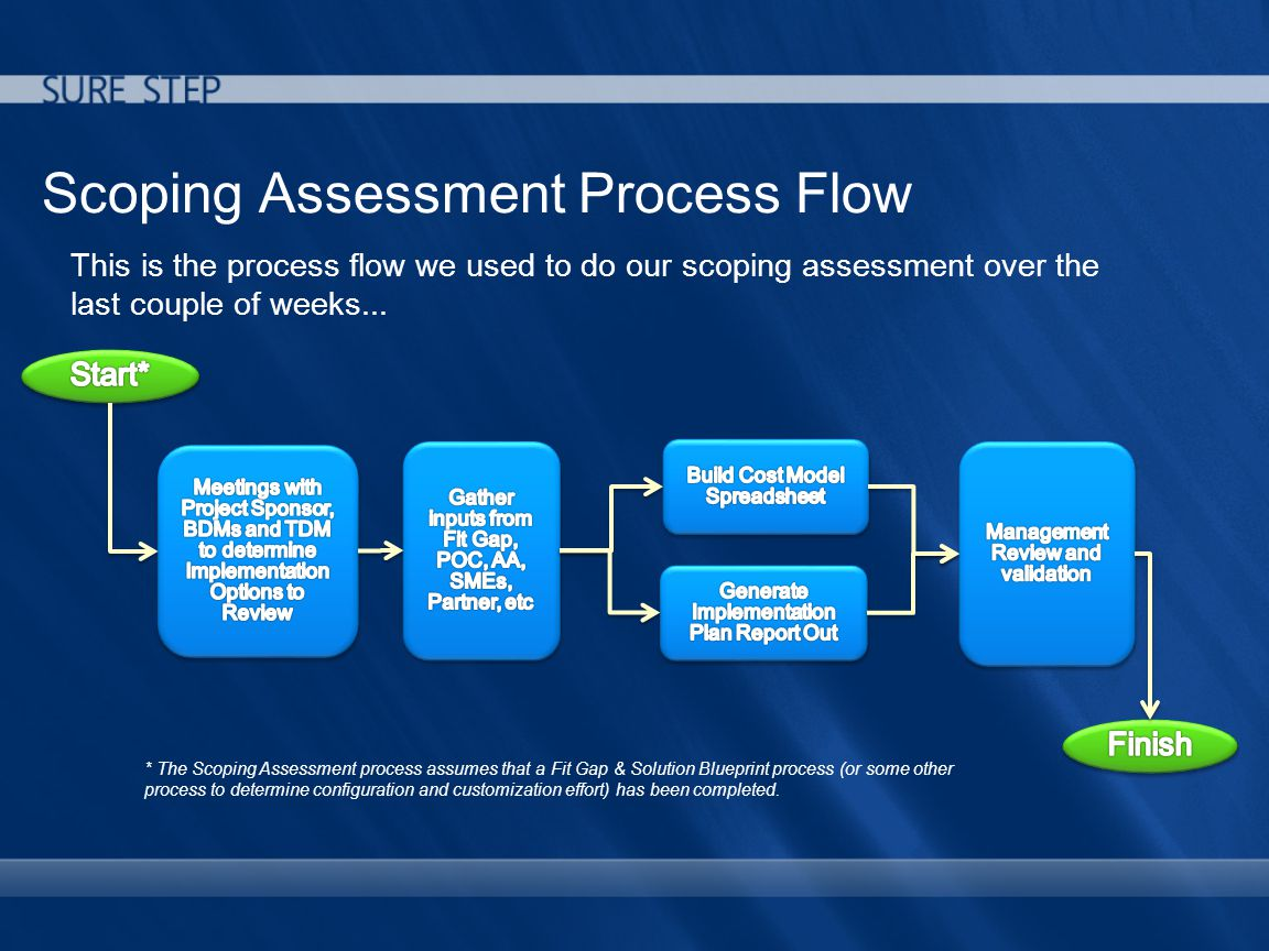 Scoping Assessment Process Flow This is the process flow we used to do our scoping assessment over the last couple of weeks...