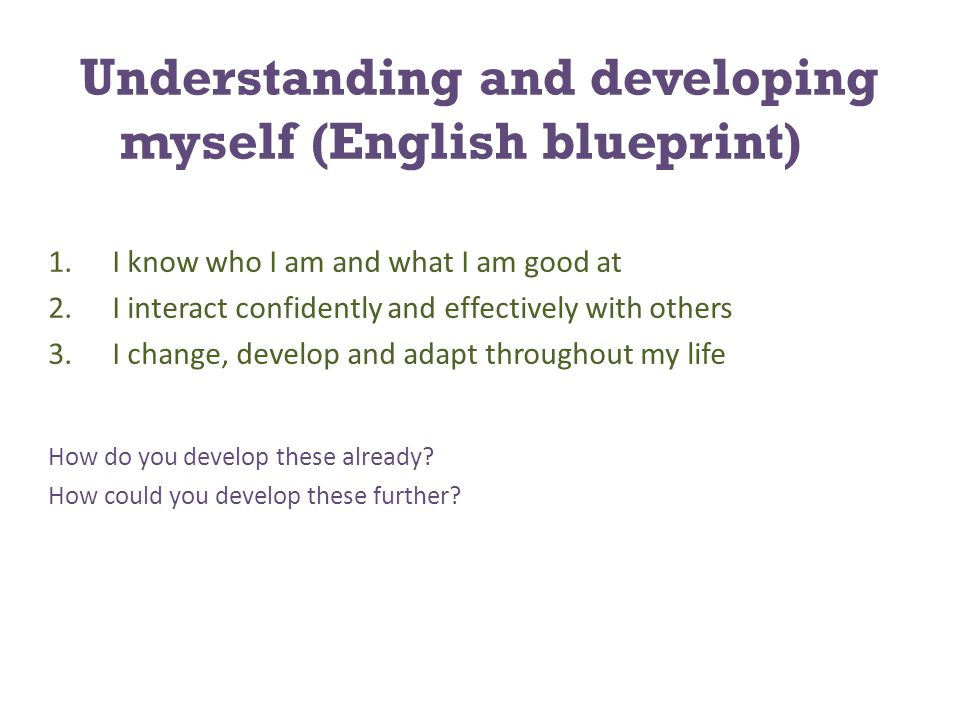 Understanding and developing myself (English blueprint) 1.I know who I am and what I am good at 2.I interact confidently and effectively with others 3.I change, develop and adapt throughout my life How do you develop these already.