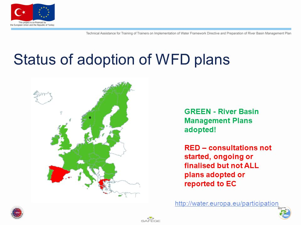 Status of adoption of WFD plans GREEN - River Basin Management Plans adopted! RED – consultations not started, ongoing or finalised but not ALL plans