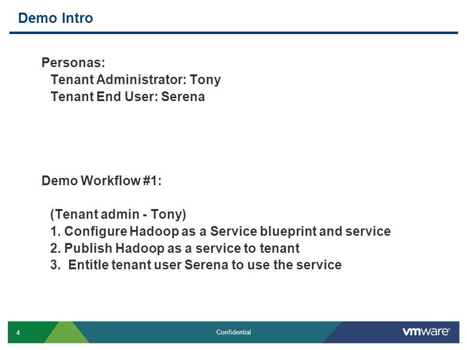 4 Confidential Demo Intro Personas: Tenant Administrator: Tony Tenant End User: Serena Demo Workflow #1: (Tenant admin - Tony) 1.