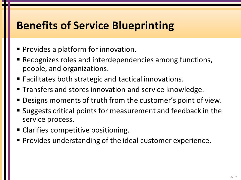 Benefits of Service Blueprinting  Provides a platform for innovation.  Recognizes roles and interdependencies among functions, people, and organizat
