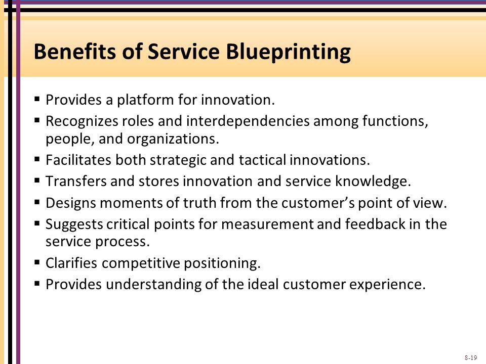 Benefits of Service Blueprinting  Provides a platform for innovation.