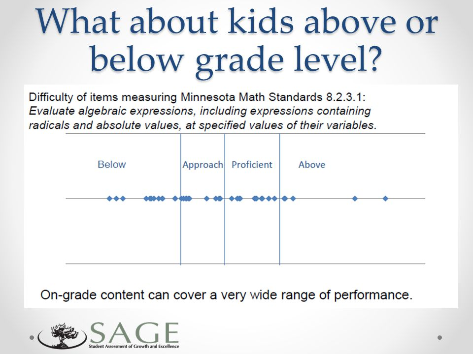 What about kids above or below grade level